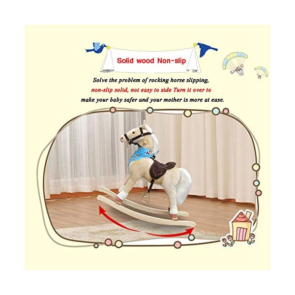 Rocking Horse Kid Wooden, With Sound Plush, Baby Rocker, For Baby 3 Months The Above,Brown  ✔Safe Material:Plush Fabric Is Soft, Stain-Resistant And Non-Toxic. Plush Fabric Sewing Are Neatly Done, Stains Can Be Removed By Wet Rag With Baking Soda Powder. The PP Cotton Used Is Breathable In Summer. ✔Safety Certified:All Paints Materials Used For This Rocking Horse Are Lead-Free, We Promise To Offer Safe Product And We Strongly Advocate Toys Made Of Natural Materials Like Wood And Cotton. ✔Product Structure:Solid Wood Are Used To Structure But Not Too Heavy,The Wooden Structure And Rails Are Rounded And Examined Manually, To Give A Smooth Surface, Not To Scratch Kids' Clothes And Skin. 2