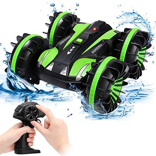 SGILE Ferngesteuertes Auto, Wasserdichtes RC Stunt Auto Boot, Amphibisches Fahrzeug Mit 360° Rotation & Flip für Kinder Jungen Mädchen Indoor Outdoor Geschenk