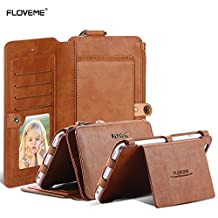 "Samsung Galaxy S6 / S6 Edge / S7 Case, FLOVEME [ Detachable Wallet/Phone Cover, Premium PU Leather, Card Slots, Kickstand ] Vintage 2 in 1 Zipper Handbag/Purses for Women & Men - 5.1"" - Brown"