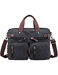 e026cf431c9bf PB-SOAR 4-in-1 Herren Damen Vintage Canvas Multifunktionale Aktentasche  Arbeitstasche Rucksack Umhängetasche Messenger Bag Laptoptasche…