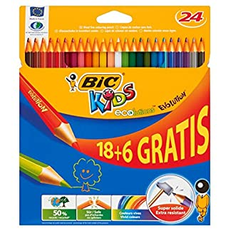 BIC Kids Evolution ECOlutions Lápices para Colorear – colores Surtidos, Blíster de 24 unidades