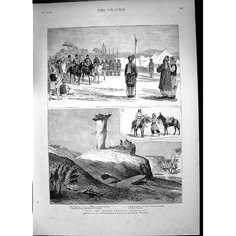 Stampa Antica del Burrone Afgano 1885 di Sinjao del Cuore del Governatore della Commissione di Frontiera - Cuore Afgano
