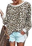 ECOWISH Damen Herbst Leopardenmuster Sweatshirt Casual Pullover Lose Rundhals Langarmshirt Top Bluse Kamel S