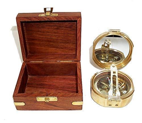Brunton Kompass, Tischkompass in edler Holzbox, Messing poliert