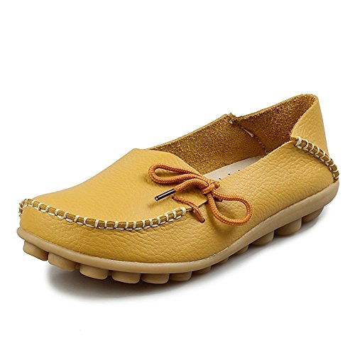 Femmes cuir synthétique mocassins mocassin ultra-doux bottes en cuir chaussures plat chaussures fermées Jaune2