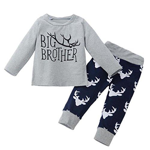Ausverkauf. Baby Jungen Kleidung Set Mingfa Little Big Brother Deer Strampler T-Shirt + Hose Hat Infant Kleinkind Outfits Kleidung, Kinder, 2pcs, 12 m