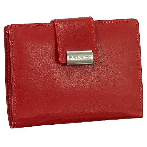 Leder Damen Geldbörse Portemonnaie Geldbeutel XXL mit Druckknopf 10 cm Farbe rot -