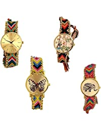 R M CREATION Attractive And Stylist Hand Made Fabric Belt Multi Colur Wrist Watch For Girls And Women