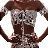 Damen Badeanzüge Bademode Badeanzug Bikini Trägerlos Durchbrochene Gehäkelt Reizvoll Weiblichen Badeanzug (EU34-S, Weiß)