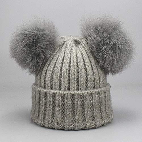 b020873be3cd8 MFHZYS Pompom Hat Mujer Gorros de Invierno para la Mujer Cute Dos Tejidos  Femeninos Skullies Beanies