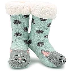 CityComfort Slipper Socks 3D Novedad Cute Animal Knitted Extra Warm Slippers Súper Soft Winter Wool (gato esmeralda)
