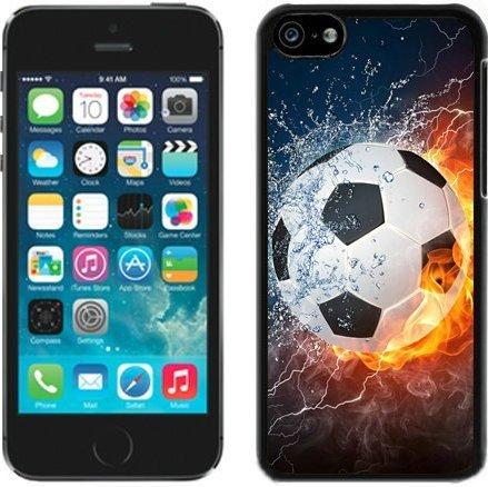 SHUAIJA Flaming Soccer Feuer und Wasser schwarz für iPhone 5C Handy Fall (Lg Wasser G3 Fall)
