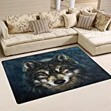 Use7 Animal Wolf Kunst-Teppich, Rutschfest, für Zuhause, Schlafzimmer, Wohnzimmer, Textil, Mehrfarbig, 50 x 80 cm(1.7' x 2.6' ft)