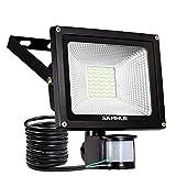 20W LED Strahler Bewegungsmelder LED Fluter Bewegungsmelder SAMHUE Außenstrahler Wandstrahler Schwarz Aluminium IP65 Wasserdicht Spotbeleuchtung