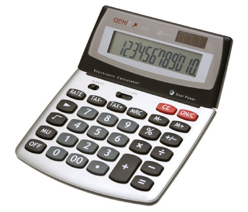 Genie 560 T 12-stelliger Design-Tischrechner (Dual-Power (Solar und Batterie), Jumbo-Display) silber / grau Genie-top