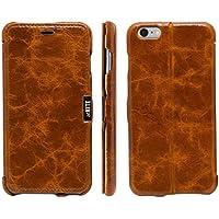 atKITE – Custodia in vera pelle, custodia cover posteriore Folio magnetica per iPhone 6 Plus / 6S Plus - Marrone