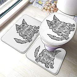 Mode Badezimmer Teppich Matten Set 3 Stück türkische Angora-Symbol im monochromen Stil weiße Katze Rassen Symbol Lager Anti-Rutsch-Pads Badematte