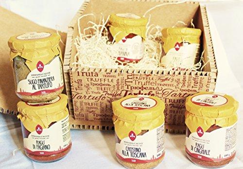 Cestas regalo y Regalos Gourmet con 6 salsas de carne Italiana y Toscana