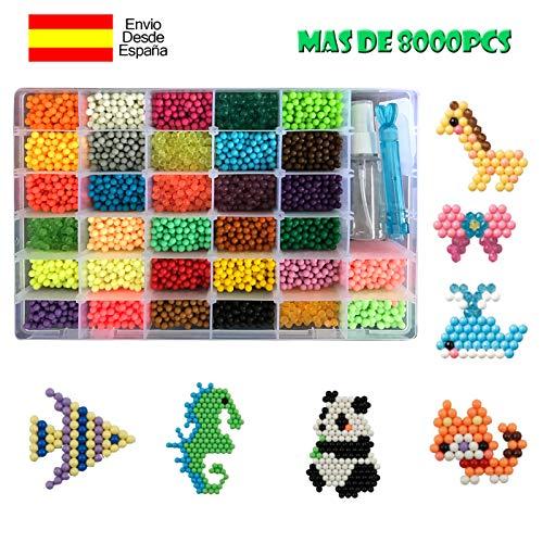 shafier Abalorios Cuentas de Agua 8000 Perlas 32 Colors/Hama Beads/para Niños DIY Artesanía Juguetes Educativos DIY