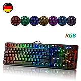 RGB Mechanische Tastatur, LESHP 105-Tasten Gaming Mechanical Keyboard mit Blue Switches LED Beleuchtung Tastatur Metall Platte 100% Anti-Ghosting gaming Tastatur mechanisch für Gamer und Schreibkraft