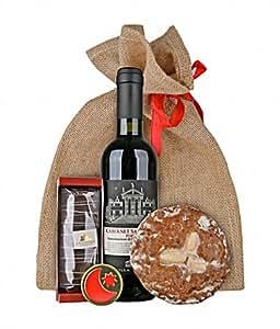 Gourmondo Weihnachtssäckchen mit Rotwein, Lebkuchen, einer Praline und Nüssen im Jutesäckchen