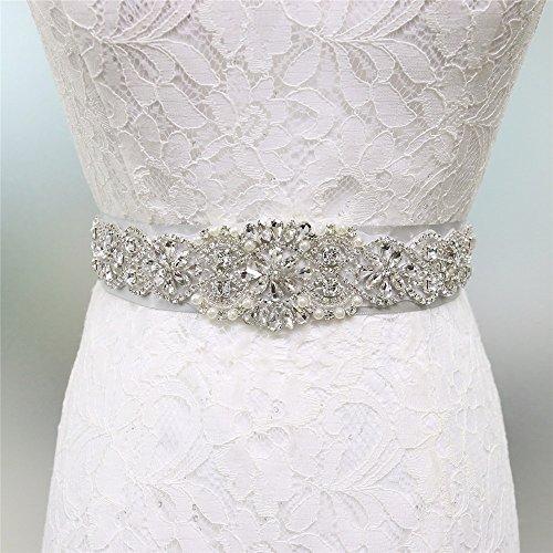 Zdada elegante abito da sposa crystal pearl cintura da sposa strass sash applique/8opzioni di colore nastro, altro, silver, ra300