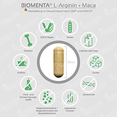 BIOMENTA L-ARGININ + MACA HOCHDOSIERT   AKTIONSPREIS!!!   2.000 mg Arginin + 4.000 mg Maca + OPC-Traubenkernextrakt + Zink + Avena Sativa + Spirulina Algen pro Tag   180 L-Arginin-Maca-Kapseln - 3