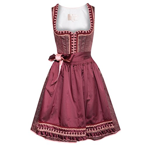Krüger Collection Damen Trachten-Mode Midi Dirndl Eveline in Weinrot traditionell
