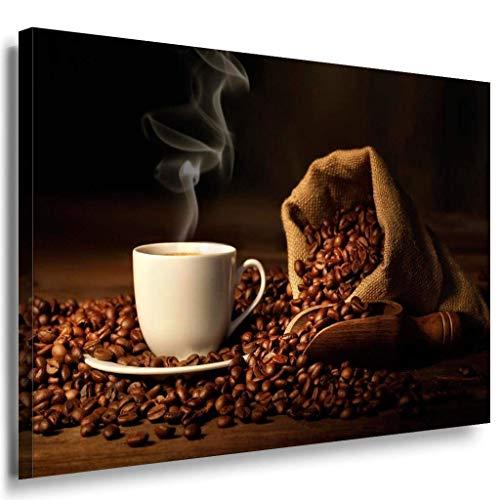 Kaffe Kaffebohnen Tasse Leinwandbild / LaraArt Bilder / Mehrfarbig + Kunstdruck XXL k62 Wandbild 100 x 70 cm