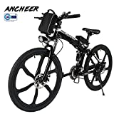 ANCHEER Electric Mountain Bike, 26 Inch Folding E-bike with Super Lightweight Magnesium Alloy 6 Spokes Integrated Wheel, Premium Full Suspension and Shimano 21 Speed Gear (Folding - White, Medium) (Black - 21speed)