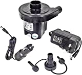 Dual Powered Electric Air Pump For Air Beds Camping Lilo's and Inflatables 230v 3 pin Mains and 12v car cigarette lighter plug. Highly versatile fast inflatables, airbed & toy inflator