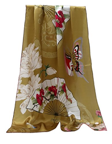 Prettystern - 180cm langer elegante Damen 100% Seidenschal orientalische Element - Maske Fächer...