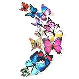12pcs 3D Schmetterlinge Cartoon-Wand/Glas-Aufkleber-Tapete-sticker-Abziehbild-Fenster Dekor, Schlagfestem PVC Schmetterling Dekorationen, Haus-Deko Wandtapete Wandtattoos für Schlafzimmer Kinderzimmer Babyzimmer