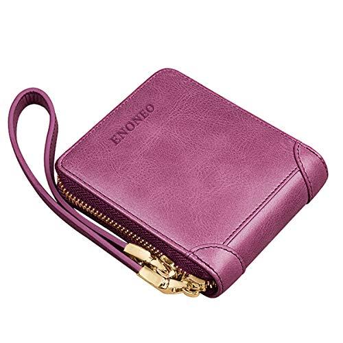 Cartera Mujer Cuero ENONEO Monedero Mujer Pequeño RFID con 8 Ranuras para Tarjetas y Billetes Billeteras Mujer Piel con Bolsillo de Monedas Carteras Mujer Cremallera (Púrpura)