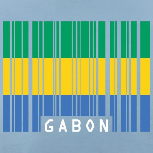 Gabon / Gabun Barcode Flagge - Herren T-Shirt - 13 Farben Himmelblau