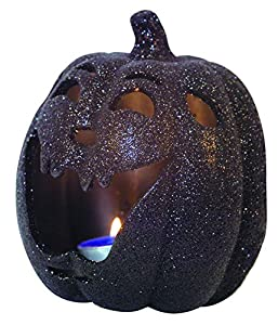 Ciao 30524-Portavelas calabaza Halloween de cerámica Glitter, 18cm