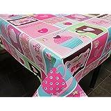 Mantel de Hule PVC estampado Ref. Cupcakes Fucsia, medida 140x100