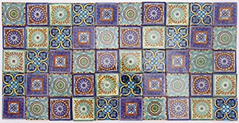 Pack of 50 Assorted Talavera Mexican Handmade 5cm Tiles: Hermosos Patrones