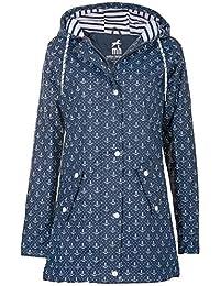 Friesennerz Borkum Regenjacke Regenmantel Segeljacke Wetterjacke Allwetterjacke Maritime Jacke Minimalprints Anker & Dots Gestreiftes Innenfutter