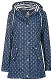 Friesennerz Borkum | Regenjacke | Regenmantel | Segeljacke | Wetterjacke | Allwetterjacke | Maritime Jacke | Minimalprints Anker & Dots | Gestreiftes Innenfutter (40/L, Blau-Weiß)