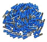 AERZETIX: Juego de 100 macho aisló terminales redonda cable eléctrico 4 mm Color: Azul