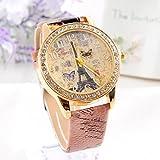 Vovotrade romántica París estilo torre de la mariposa PU reloj de cuarzo de cuero para el regalo de la niña de San Valentín (d)