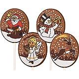 Schokoladenlolly Weihnachten 4-fach sortiert, 36 Stück je 25g, Größe: 42x42 mm