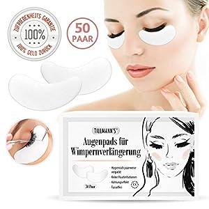Augenpads für Wimpernverlängerung | 50 Paar | Geeignet für Wimpernfärben & Wimpernwelle | Fusselfrei | Feuchtigkeitsspendend | Selbstklebend | Augenpads in Premiumqualität vom Tillmann's Deutschland