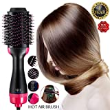 Hot Air Brush One Step Hair Dryer Volumizer Styler Brush, spazzola lisciante 2 in 1 ioni negativi, spazzola lisciante, per ridurre l\'effetto crespo, strumenti e elettrodomestici, nero (rosa)