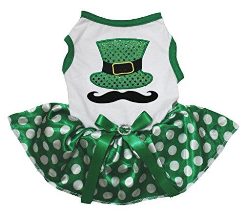 s Bling Hat Mustache White Cotton Polka Dots Green Tutu (Small) (St Patricks Tag T-shirts)