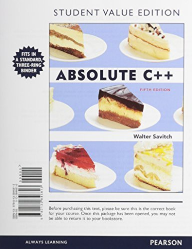 Absolute C++, Student Value Edition Plus MyProgrammingLab with Pearson eText -- Access Card Package (5th Edition) by Walter Savitch (2012-03-17)