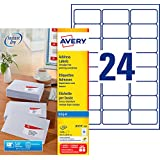 AVERY - Boite de 2400 étiquettes d'adressage autocollantes, Personnalisables et imprimables, Format 63,5 x 33,9 mm, Impressio