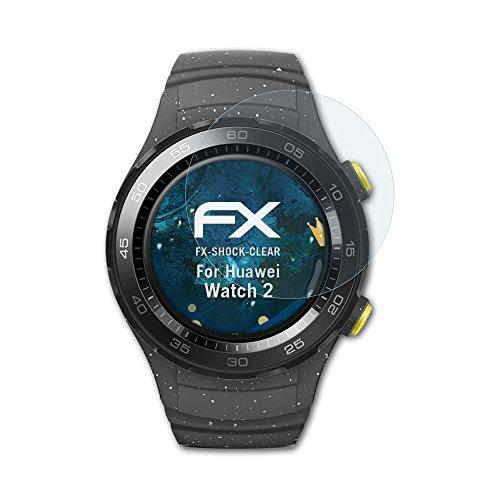 atFoliX Schutzfolie kompatibel mit Huawei Watch 2 Panzerfolie, ultraklare & stoßdämpfende FX Folie (3X)