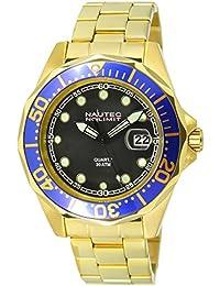Nautec No Limit Herren-Armbanduhr XL Deep Sea Bravo Analog Quarz Edelstahl beschichtet DSB-QZ-GDGDBLBK